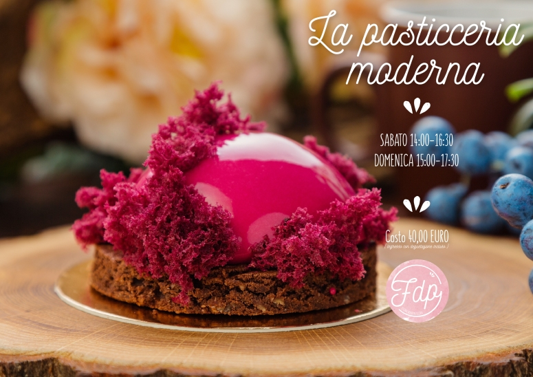 French pastry with pink glaze and burgundy sponge cake